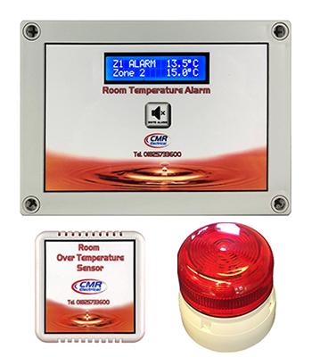 Room over temperature alarm unit